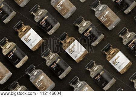 Vitamin injection glass bottles with luxurious patterned labels