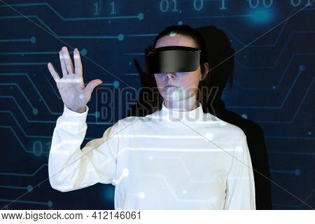 Woman wearing AR glasses smart technology