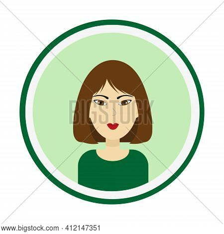 Female Avatar. Cute Woman Portrait On Green Background. Girl Face With Medium Length Brown Hair And