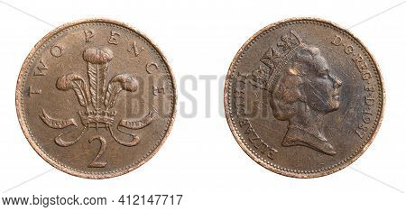 England Two Pence Coin On White Isolated Background