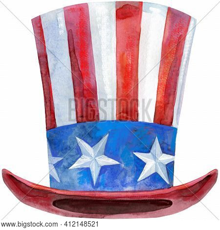 Stylized Uncle Sam Hat In The Colors Of The American Flag. Suitable For Illustrations Related To Pub