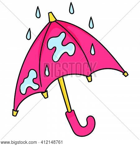 The Umbrella Is Wet With Rain Doodle Kawaii. Doodle Icon Image. Cartoon Caharacter Cute Doodle Draw