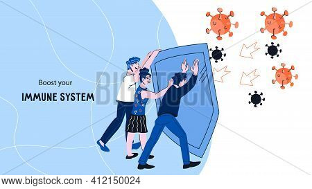 Boosting Immune System Web Banner Concept With People Protecting Themselves From Viruses And Disease