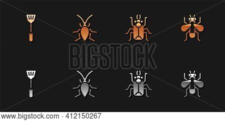 Set Fly Swatter, Cockroach, Beetle Bug And Insect Fly Icon. Vector