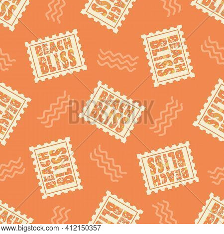 Beach Bliss Typography Vector Seamless Pattern Background.tropical Monochrome Orange Backdrop With D