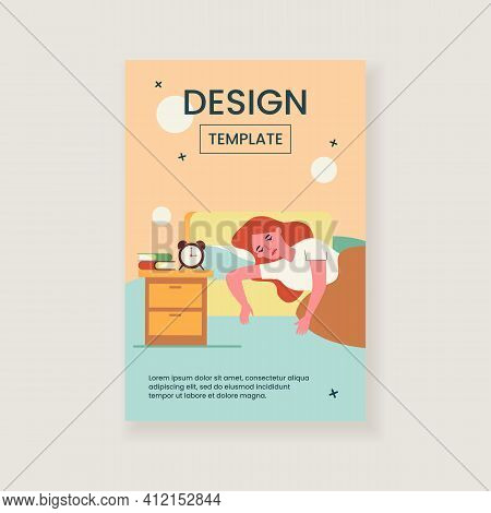 Sleepless Woman Lying In Bed With Fatigue Isolated Flat Vector Illustration. Cartoon Depressed Sleep