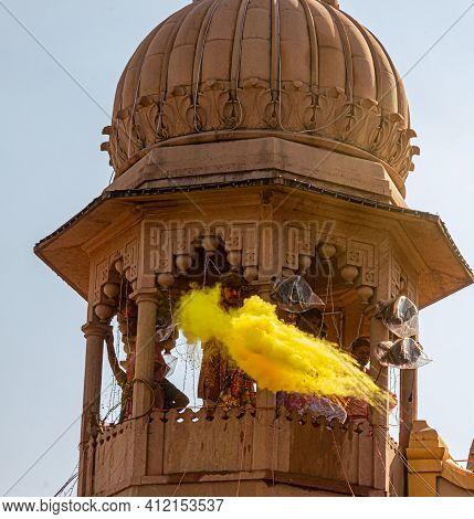 March 2021 Vrindavan,uttar Pradesh ,india. People Celebrating Holi At Barsana On Holi Festival,with