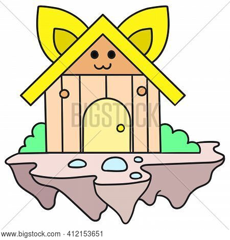 Draw Wooden Pet House Cages, Doodle Kawaii. Doodle Icon Image. Cartoon Caharacter Cute Doodle Draw