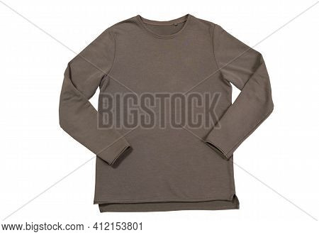 Male Green Sweater Isolated On The White. Khaki Sport Blank Sweatshirt Isolated On White