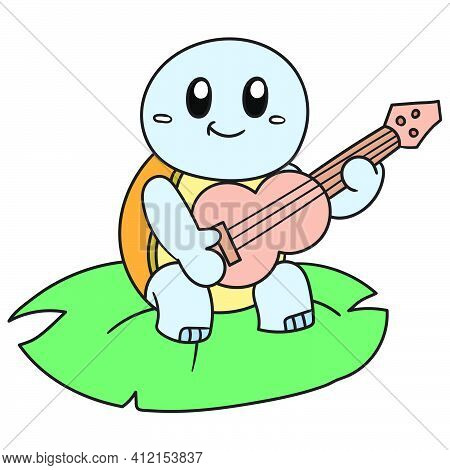 A Turtle On A Leaf Playing Music Using A Guitar, Doodle Kawaii. Doodle Icon Image. Cartoon Caharacte