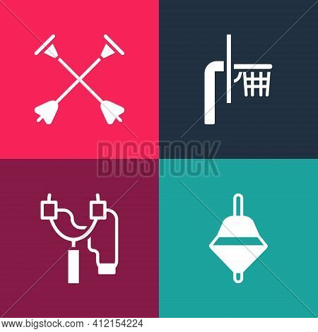 Set Pop Art Whirligig Toy, Slingshot, Basketball Backboard And Arrow With Sucker Tip Icon. Vector