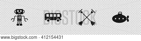 Set Robot Toy, Bus, Arrow With Sucker Tip And Submarine Icon. Vector