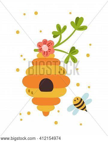 Honey Bee Nursery Poster, Bumblebee Kids Pre-made Card Or Printable Wall Art Template With Cute Bee,
