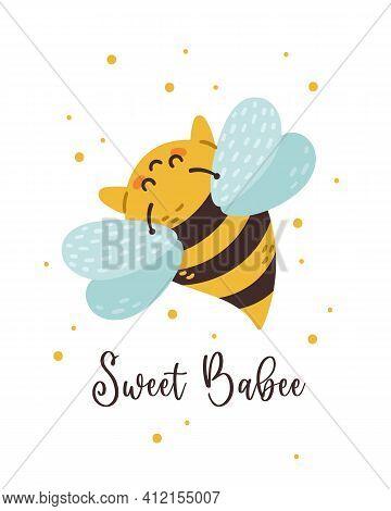 Honey Bee Nursery Poster, Kids Bumblebee Pre-made Card Or Printable Wall Art Template With Cute Bee,