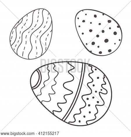 Happy Easter Eggs With Ornament. Black And White Happy Easter Vector Illustration. Boho Easter Conce
