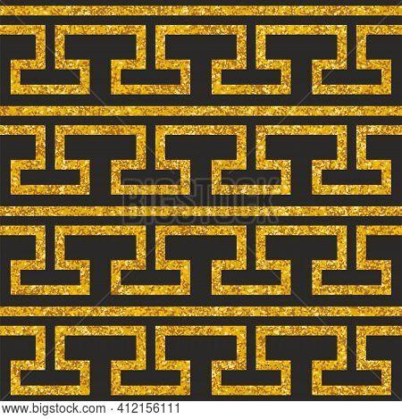 Tile Decorative Floor Gold And Dark Grey Tiles Greek Vector Pattern Or Seamless Background