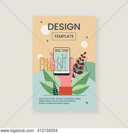 Hand Holding Smartphone With Metro Map. Phone, Cake, Party Flat Vector Illustration. Navigation And