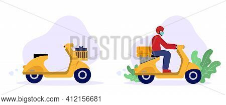Fast Food Delivery By Scooter. Delivery Man In Medical Mask Riding On Scooter And Empty Scooter. Onl