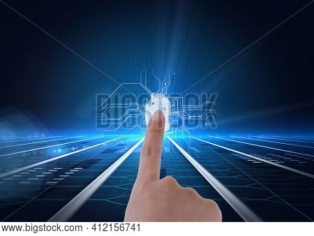 Human finger scanning over biometric scanner against microprocessor connections on blue background. cyber security and technology concept
