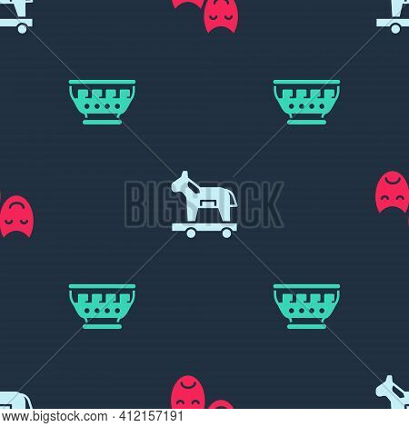 Set Comedy And Tragedy Masks, Trojan Horse And Greek Ancient Bowl On Seamless Pattern. Vector