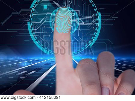 Human thumb over biometric scanner against microprocessor connections on blue background. cyber security and technology concept