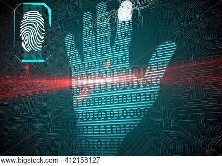 Binary coding over human hand print against microprocessor connections on blue background. cyber security and technology concept