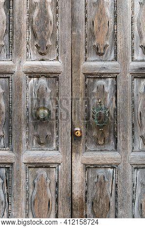Old Wooden Door In Beautiful Italian City Venice. Italy