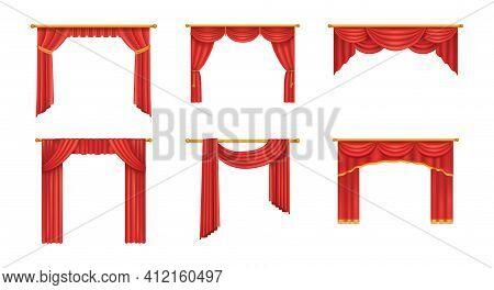 Realistic Red Theater Curtains. Red Silk Velvet Curtains And Draperies Design Interior, Theater Stag