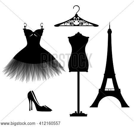 Luxuriuos Paris Haute Couture Fashion Atelier Design Set With Vector Silhouettes Of Little Black Dre