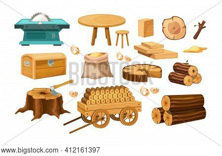 Wood Industry Material Tools And Products, Tree Trunks, Bark, Wood Kitchen Utensils, Branches, Plank