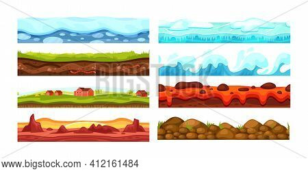 Ice With Snow, Desert, Ice Sheet, Sea Water With Waves, Stone Surface, Volcanic Land, Landscape With