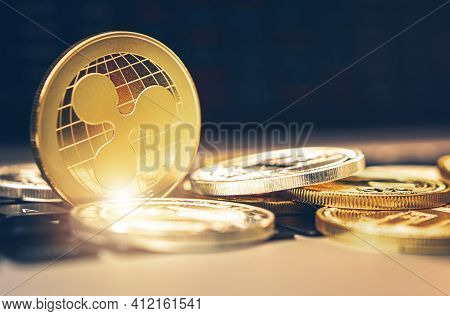 Xrp Ripple Coin And Other Cryptocurrency Close Up. Crypto Investment Theme.