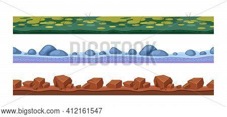 Landscape Grounds Seamless. Cartoon Texture Different Ground, Landscape Seamless Vector Background.