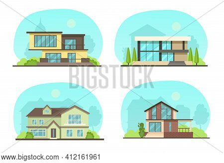 Set Colorful Country Town Houses With Roof, Suburban Cottages, Guest House, Mansion, Townhouse, Hous