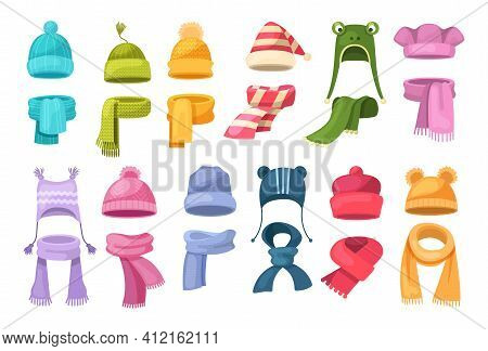 Cute Knitted Warm Autumn And Winter Clothing. Warm Kids Boy And Girl Hats And Scarves. Headwear And