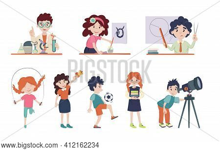 School Children In Classroom On Lessons. Back To School Vector Illustration. Cute Schoolchild's At L