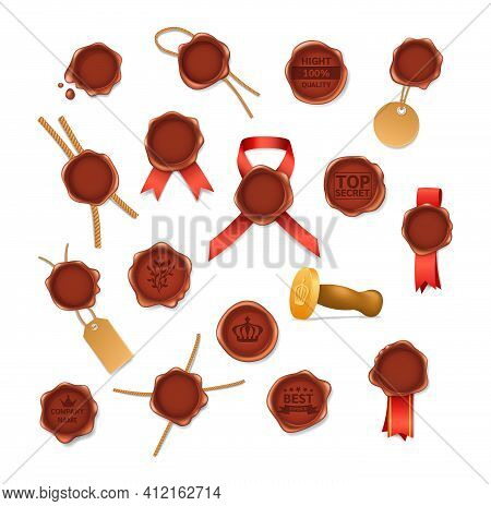 Set Realistic Retro Vintage Red Seal Wax Stamps With Logos Pictograms Labels And Ribbons. Stamp Wax