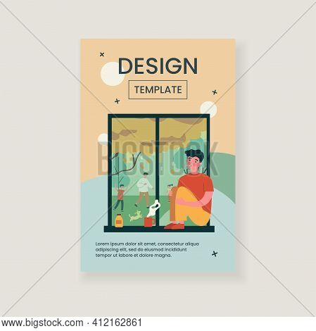 Sick Young Man With Flu Looking At Window. Disease, Loneliness, Medication Flat Vector Illustration.