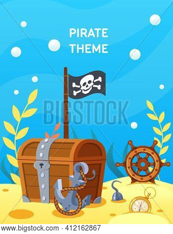Pirate Theme. Vector Cartoon Treasure Chest At Bottom Of Ocean, Steering Wheel, Anchor At Depths Of