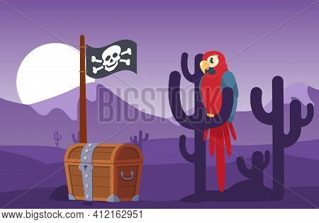 Parrot Sitting On A Cactus Next To Chest With Coins And Pirate Flag On Vacant Lot In Middle Of Sunse