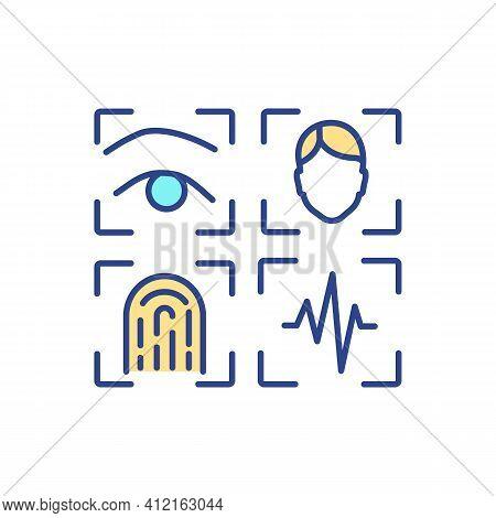 Morphological Biometrics Rgb Color Icon. Biometric Technology. Physical Human Traits Involving. Scan