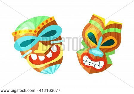 Hawaiian Totem Mask.tiki God Wood Statues, Wooden African Sculpture. Polynesian African And Mask Haw