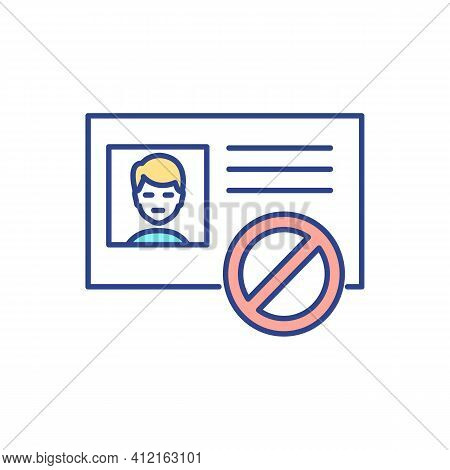 Identity Fraud Rgb Color Icon. Stolen Private Details. Immigration Violations. Using Person Personal