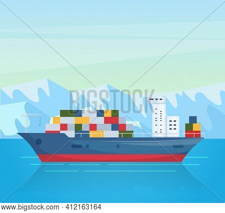 Maritime Ships At Sea. Industrial Sea Cargo Logistics Container, Container Ship With Load. Seagoing