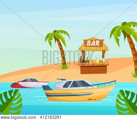 Maritime Ships At Sea, Boat Near Tropical Beach With Palm. Water Transportation Tourism Transport Ca