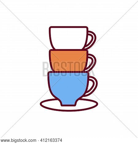 Caffeine Overdose Rgb Color Icon. Taking High Caffeine Dose. Cups With Brewed Coffee. Moderate Intak