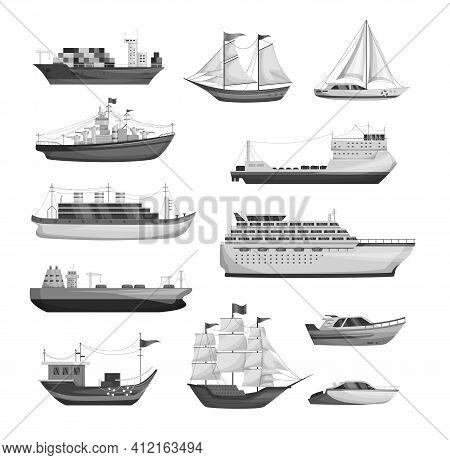 Maritime Ships Silhouette, Shipping Boats, Sailboat, Yacht Sailing, Cargo Cruise Ship, Steamship, Ve