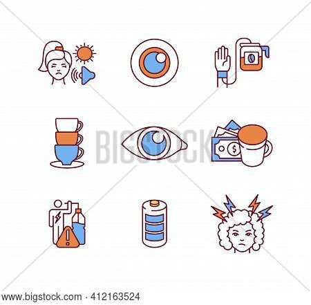 Energy Drinks Negative Effects Rgb Color Icons Set. Coffee Addiction. Sensitivity To Light And Sound