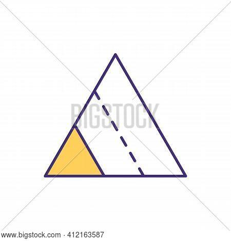 Triangle Segments Rgb Color Icon. Pyramid Model. Segmentation Method. Conic Solid With Polygonal Bas