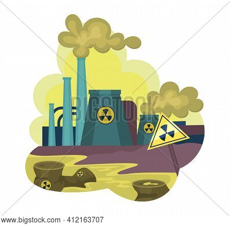 Environmental Pollution By Industrial Dirty Waste, Nuclear Pollution. Smoke Through The Pipes Gets I